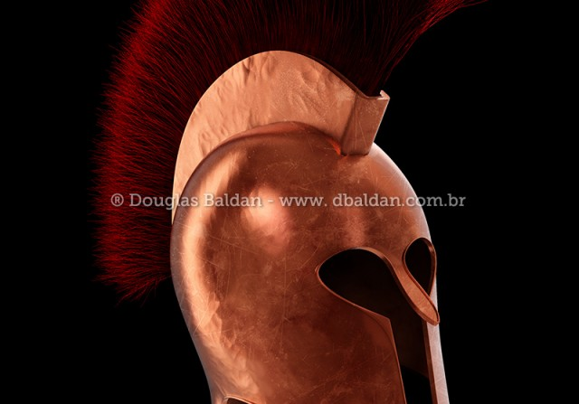 Hoplite Spartan helmet infantary isolated on white background